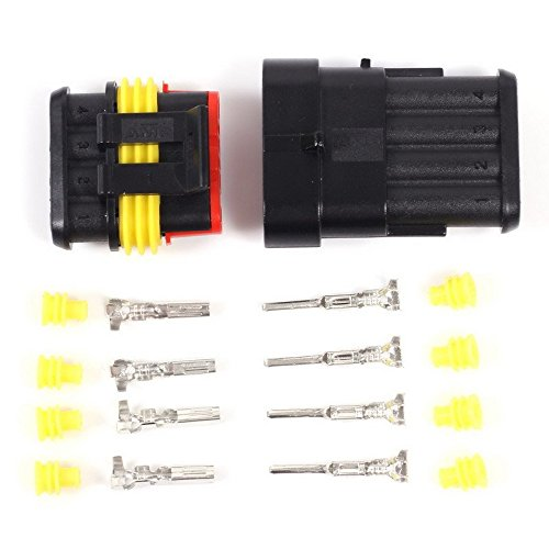 Icstation 4 Pin Waterproof Car Motorcycle Electrical Connector Plug Socket Kits ( Pack of 5) (Cycle Electrical compare prices)