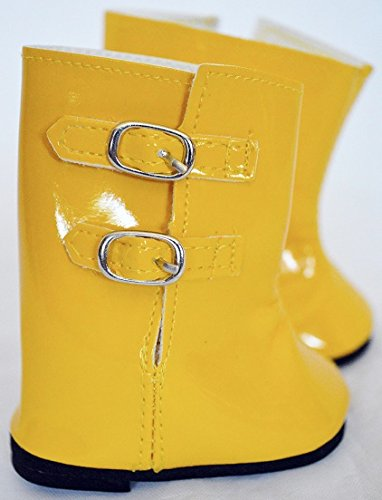 YELLOW RAIN BOOTS FOR AMERICAN GIRL DOLLS-18 NCH DOLL CLOTHES- WILL ALSO FIT 15 INCH BITTY TWINS
