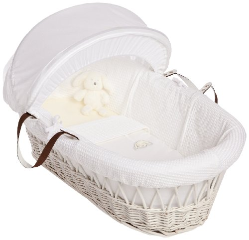 Izziwotnot Gift Wicker Moses Basket (White)