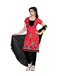 Shree Vardhman Synthetics Red Semi Cotton Top Straight Unstiched Salwar Suit Dress Material