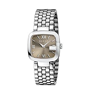 Gucci G-Gucci Collection Women's Quartz Watch with Brown Dial Analogue Display and Stainless Steel Bracelet YA125410