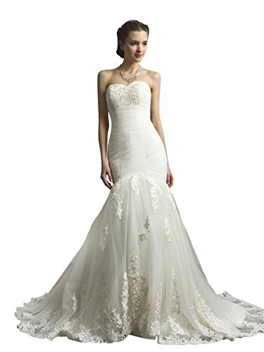 KAY&LAYLA Women's Appliqued Lace Mermaid Wedding Dress Sweetheart Tulle Bridal Gown