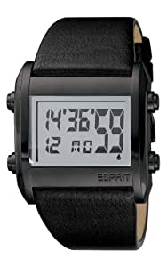 Esprit - ES102341001 - Montre Homme - Quartz Digitale - Chronomètre/ Alarme/Eclairage/Chronomètre - Bracelet Cuir Noir