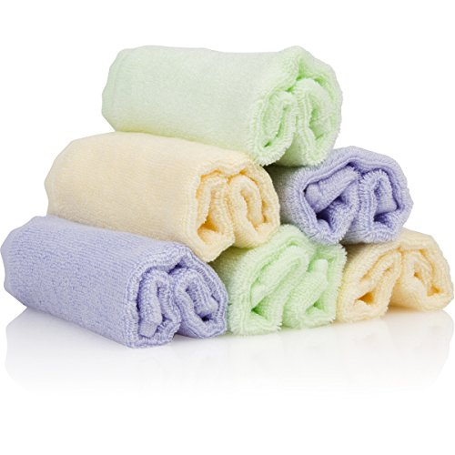 Bamboo Organics Baby Washcloths - 6 Premium Reusable Wipes - Extra Soft For Sensitive Skin