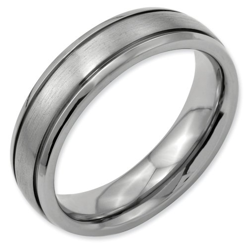 Titanium Grooved Edge 6mm Brushed and Polished Band Ring Size 14.5 Real Goldia Designer Perfect Jewelry Gift for Christmas