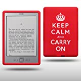 "AMAZON KINDLE 4 KEEP CALM & CARRY ON SILIKON SKIN CASE SCHUTZH�LLE IN ROT/WEI�von ""CELLAPOD"""
