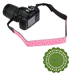 GTMax Pink Ostrich Pattern Leather Camera Shoulder Strap Neck Strap + Cup Pad for Canon SX50 HS, G15, EOS 6D, SX500 IS, T5i SL1 T4i T3i T3 T2i XT XTi XS XSi T1i; Panasonic DMC-LZ20, FZ60, FZ200, FZ150K, FZ47K, FZ40, FZ100, FZ35, LX5K, LX7, GF6, GH3, G5, GF5; Pentax Q10, X-5 and Sony Fuji Olympus Nikon SLR Camera