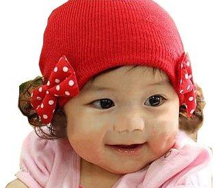 超可愛い!! ウィッグ付き ニット帽 ベビー 赤ちゃん用 ヘアアクセサリー セット リボン (レッド)