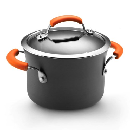 Rachael Ray Hard Anodized II Nonstick Dishwasher Safe 3-Quart Covered Saucepot, Orange