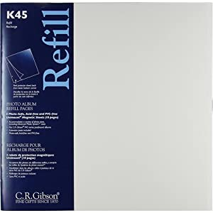 """C.R. Gibson K45 Unimount Magnetic Sheet Refills for the P45 and P3X Series Photo Albums, 12x12"""" Pages, Pack of 5"""