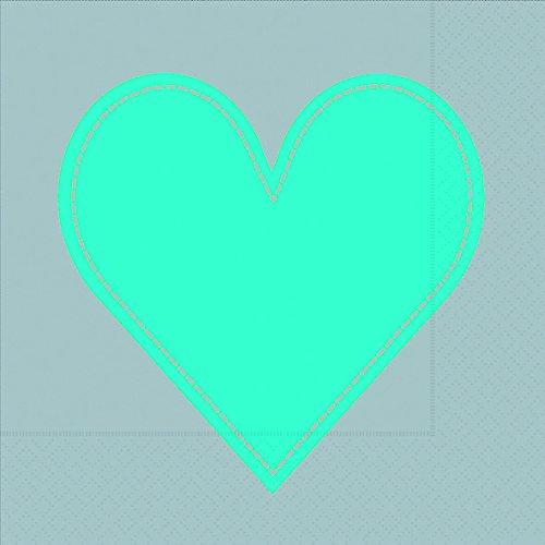 20 Servietten Heart turquoise-grey - Herz türkis auf grau / Herzmotiv 33x33cm