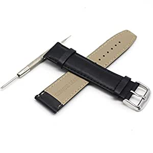 Rerii 22mm Width Genuine Leather Watch Band Strap with Quick-Release Pins for Moto 360 2 46mm / Samsung Galaxy Gear 2, Gear 2 Neo, Gear 2 Live / LG G Watch W100,R W110,Urbane W150 / ASUS ZenWatch 1