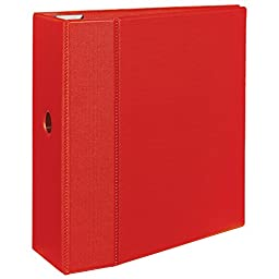 Avery Heavy-Duty Binder with 5-Inch One Touch EZD Ring, Red (79586)