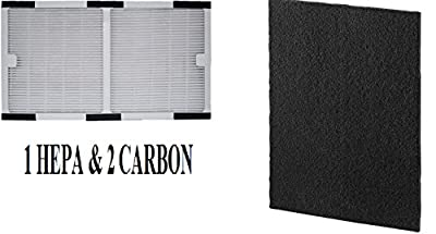 Aftermarket Idylis C HEPA Filter & 2-Pack Carbon activated filters compare to part # IAF-H-100C for air Purifier Models IAP-10-200, IAP-10-280 by Breathe Naturally®