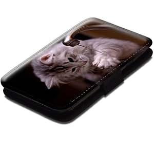 Chats 10039, Chaton Gris, Etui Personnalisé Coque Housse Cover Coquille en Cuir Noir avec Dessin Coloré pour Samsung Galaxy S3 i8190 Mini.