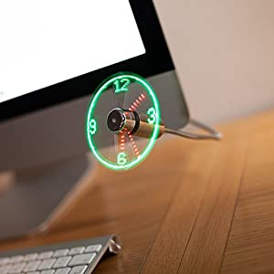 USB LED Clock Fan Display Flexible Desktop & Laptop Clock Fan