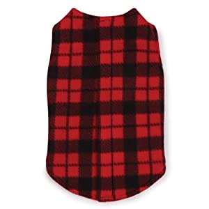 East Side Collection Polyester Fashion Fleece Dog Vest, Small, 12-Inch, Buffalo Plaid