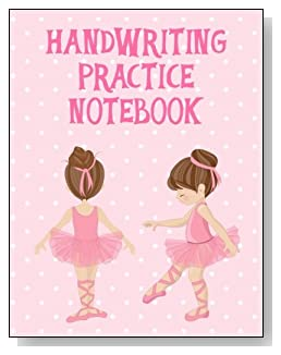 Handwriting Practice Notebook For Girls - A cute little brunette ballerina against a mostly pink background graces the cover of this handwriting practice notebook for younger girls.