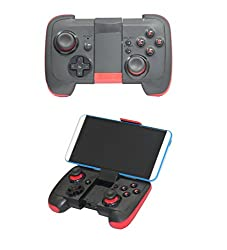 J Wireless Bluetooth Gamepad / Joystick / Controller with Stand for IOS & Android Mobile Phones, PC,Android TV/TV Media Box with Bluetooth Function (Black/Red) 7002