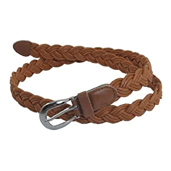 allegra k brown single prong buckle braided faux