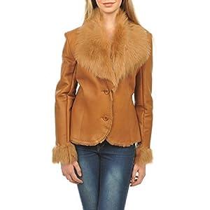 Veste Cuir Femme Arturo XH8612 camel beige 42 - XL Couleur - beige