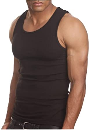 ToBeInStyle Men's A-Shirt Tank Top Muscle Shirt - Small - Black