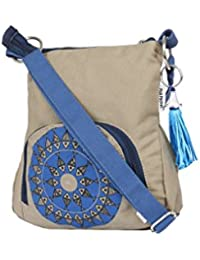 Pick Pocket Green Canvas Sling Bag With Bright Blue Motiff.
