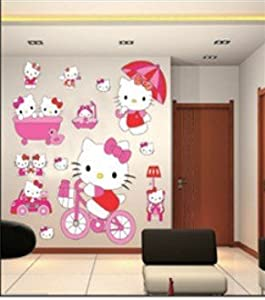 Hello kitty wall stickers room decoration large set of stickers art decal hello kitty for Decoration hello kitty chambre