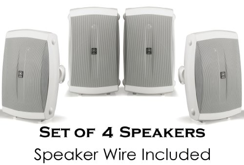 "Yamaha All Weather Indoor & Outdoor Wall Mountable Natural Sound 120 Watt 2-Way Acoustic Suspension Speakers (Set Of 4) White With 5"" High Compliance Woofer, 1/2"" Pei Dome Tweeter & Wide Frequency Response + 100 Ft 16 Gauge Speaker Wire - Compatible With"
