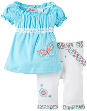 Young Hearts Baby-Girls Infant Knit Top With Twill Capri Pant Set, Teal Tap, 18 Months