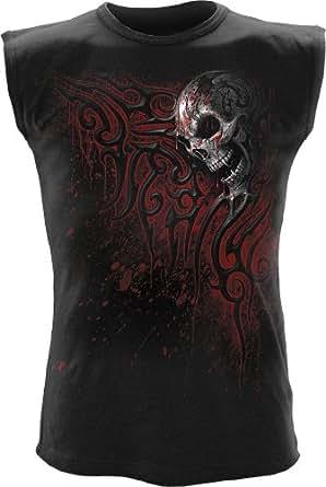 Spiral T-shirt sans manches pour homme Motif Death Blood Noir - moyen