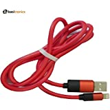 Basitronics Half Apple Lightning To USB Charging And Data Cable For Iphone, 3 Feet (0.9 Meters) Red