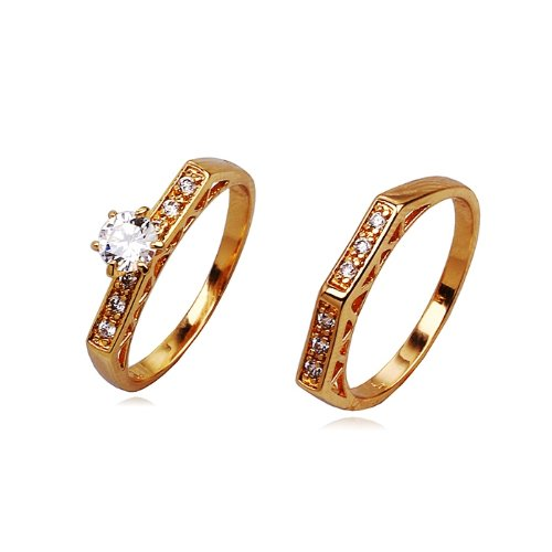 Accessories of Envy - 18ct Yellow Gold Filled 0.84ct Simulated Diamond Bridal Engagement and Wedding Ring Set- FREE Double Leatherette Gift Box