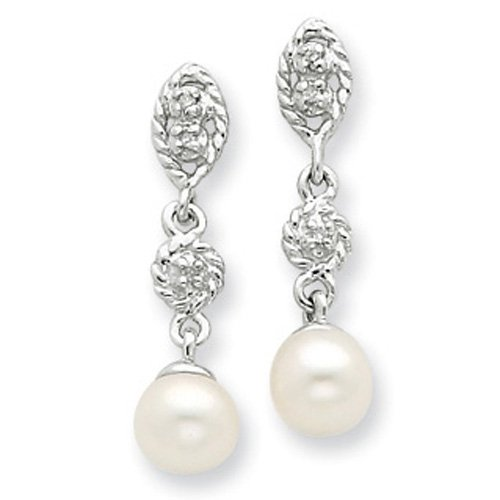 Sterling Silver Rhodium 6mm Freshwater Cult Pearl & Diamond Post Earrings
