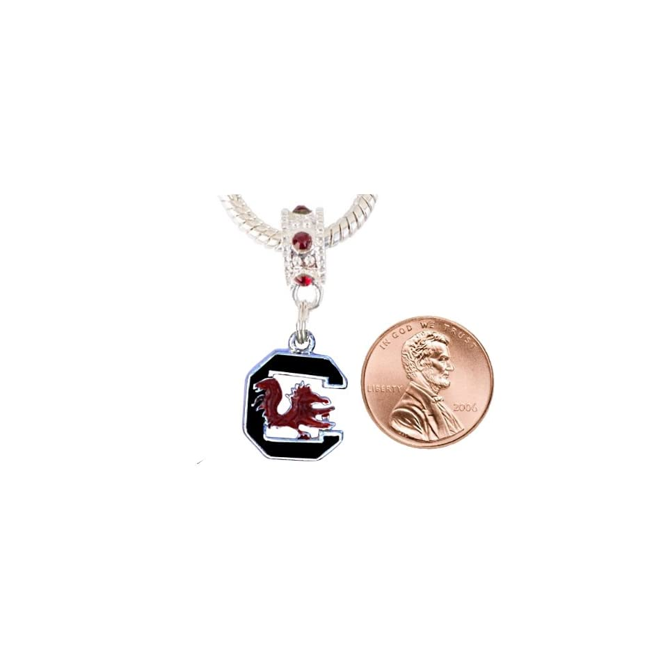 University of South Carolina Charm with Connector Will Fit Pandora, Troll, Biagi and More. Can Also Be Worn As a Pendant.  Sports Fan Necklaces  Sports & Outdoors