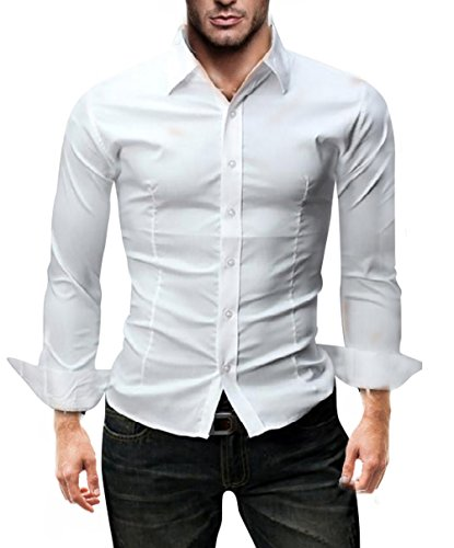 KAYHAN Langarmhemd Slim Fit 20 Farben zur Auswahl S-XXL Weiß (M)