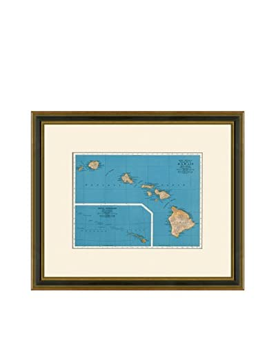 Vintage Print Gallery Antique Map Of Hawaii 1937, Multi, 17.5 x 20.5