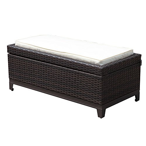 PATIOROMA Outdoor Patio Wicker Storage Deck Box & Garden Bench Deck Box with White Seat Cushion, Espresso Brown,Aluminum Frame