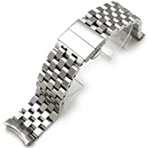 22mm SUPER Engineer Type II Stainless Steel Deployment Watch Band for SEIKO SKX007