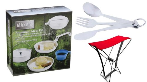 New Personal Aluminum Mess Kit Compact Emergency Gear + Stainless Steel Camping Flatware Set + The Amazing Pocket Chair + Free Quick & Easy Outdoor Survival Recipe Ebook - Bundled - Frypan With Long Folding Handle, Saucepan, Plate, 8 Oz. Mug, Knife, Fork,