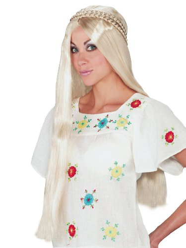 Hippie Girl Blonde Wig Retro 1960 Woodstock