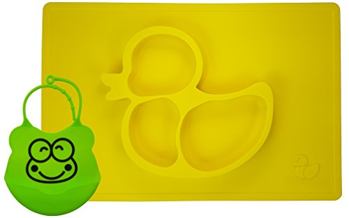 one-piece-silicone-fun-placemat-plate-tray-with-bib-self-suction-yellow-duck-design-by-elm-tree-for-