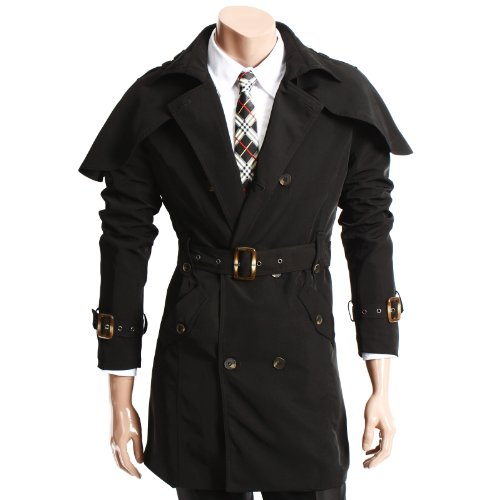 Doublju Mens Casual Stunning Design Double Trench Coat BLACK XL (GJ20)