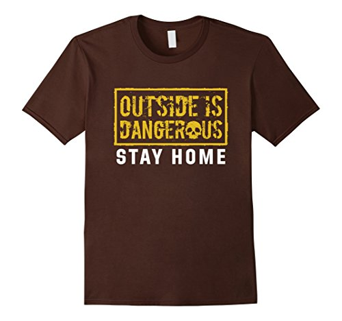 Mens-EmmaSaying-Outside-Is-Dangerous-Skull-Design-Cool-T-Shirt-Brown