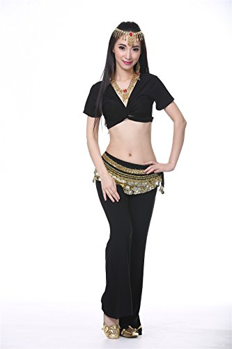 3PCS Black Belly DanceCrystal Cotton Belt With Short Sleeves Yoga Suits For Women