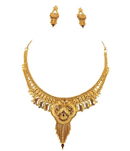 Goldencollections Gold Simple Necklace Set for Women #DSCF3986 (yellow)