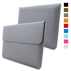 Snugg Macbook Pro 15 Case - Leather Sleeve with Lifetime Guarantee (Grey) for Apple Macbook Pro 15
