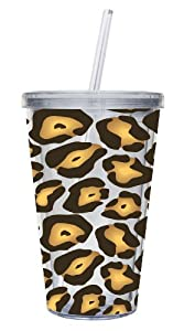 Cypress Home 17-Ounce Insulated Cup With Lid and Straw, Leopard