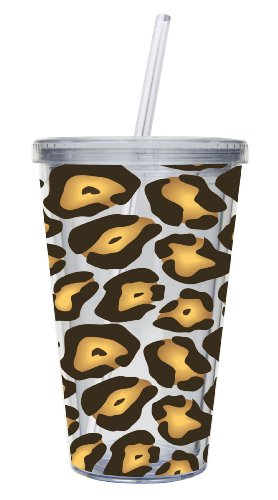Cypress Home 17-Ounce Insulated Cup With Lid And Straw, Leopard front-598574