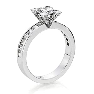 Diamond Engagement Ring 3 ct, J Color, SI1 Clarity, GIA Certified, Princess Cut, in 14K Gold / White